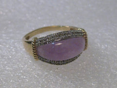14kt Gold Purple Jade and Diamond Ring, size 10.5, Domed, 4.76 grams.