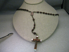 Vintage Rosary from Lourdes in Case, with wood beads, silvertone cross and chain