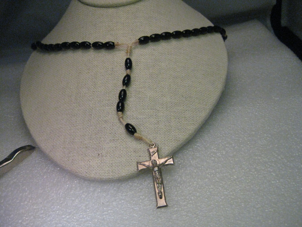 "Vintage Rosary, Silvertone Crucifix, black wooden beads on white cord, 16"", mid-century"