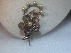 Vintage  Copper of Sterling Floral 1940's Brooch, faux pearls, 3.25