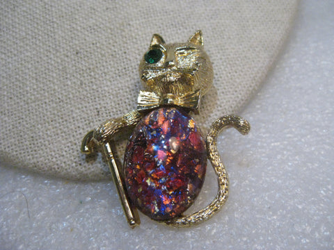 Vintage Confetti Belly Cat Brooch, w/ Cane, Winking,  1960's, Gold Tone, 2""