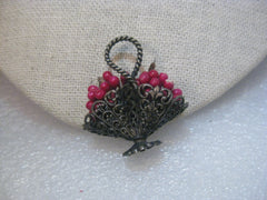 Vintage 1890's Victorian Basket Brooch, Red Paper Apples, Plunger Clasp