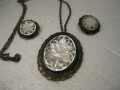 Vintage .900 Silver Floral Mother-of-Pearl Carved Pendant & Clip Earrings, Jerusalem, 1930's-1940's