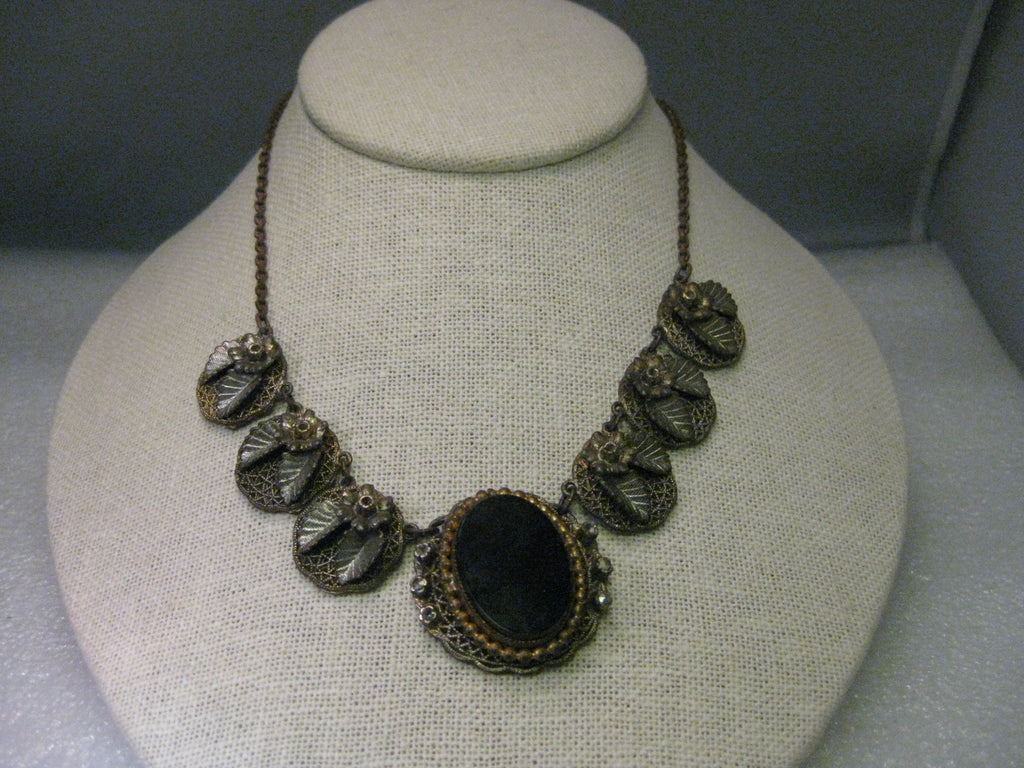 Antique Victorian Choker, Possibly Mourning, Filigree Leaf Links, Black Cameo & Marcasite 15""