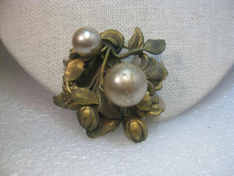 Vintage Art Nouveau Floral Dress Clip, Faux Pearl, early 1900's, Brass