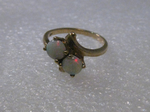 Vintage 10kt Double Opal Bypass Ring/Engagement Ring, sz. 6, Mid-Century, 2.70 grams