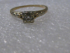 Vintage 14kt Gold 1930/40's Diamond Engagement Ring, Two-Tone, signed 14kt, sz. 6.5