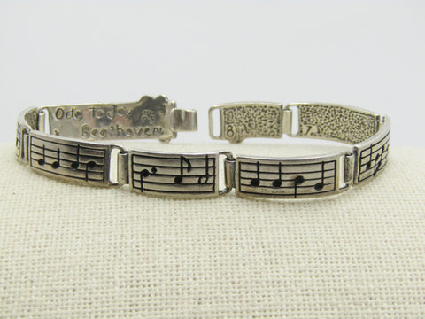 "Sterling Beethoven Ode to Joy Bracelet, 7"", 8mm Wide, 17.11 Grams, Hook Clasp"