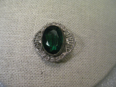 Antique Early 1900s Brooch, Silver Tone Filigree with Large Cut Faux Emerald Stone