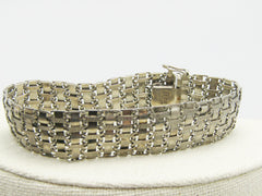"Vintage Sterling Wide Woven Bracelet, Safety Clasp, 7.5"", 17.52gr."