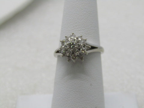 Vintage 14kt Diamond Cluster Ring, .70 ctw, size 6.75, signed KN, 3.18 grams, 1980's