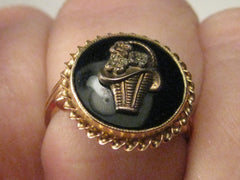 Vintage Ring, 10kt Victorian Style Onyx Ring with Raised Floral Basket Motiff, sz. 5.75, 2.60 grams, 1930's