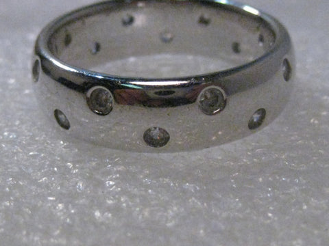 Sterling Silver Men's 7mm Wide Wedding Band/Ring, with CZ's, size 11.5, 8.62gr