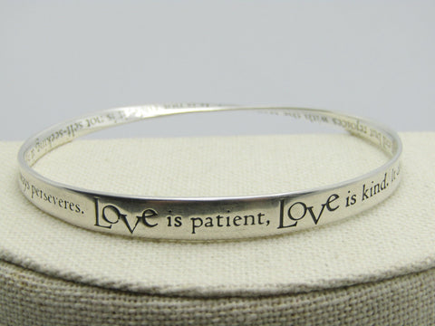 "Sterling Silver Love is Patient Mobius Bracelet, Bangle, 7.75"", 17.15gr. Signed"