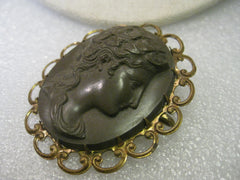 1800's Victorian Gutta Percha Mourning Cameo Brooch, Brown, Gold Tone Scalloped Frame