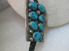 "Vintage Navajo Tommy Moore Sleeping Beauty Turquoise  Nugget Bolo Tie, 38"",  signed"