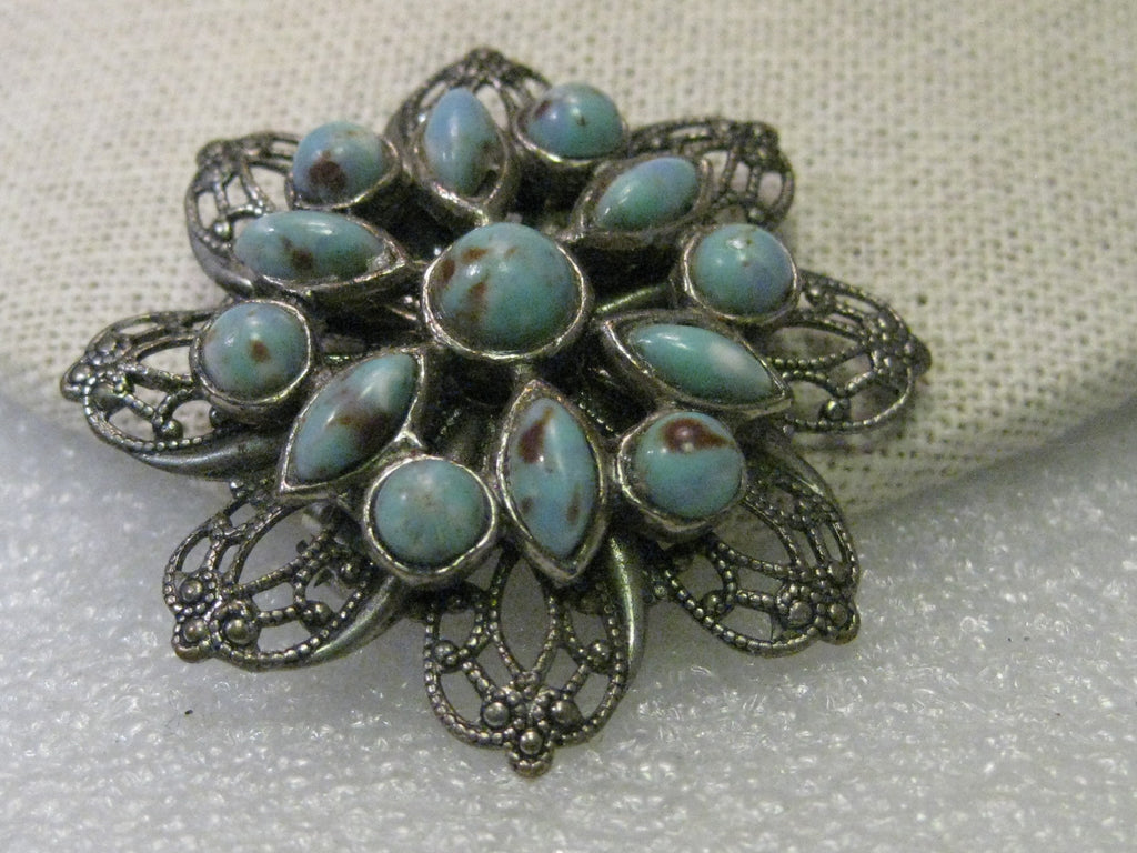 Beautiful Vintage 800 Continental Solid Silver Blue Stone Brooch