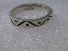 Sterling Silver Southwestern Ring or Wedding Band, Mexico, Triangle Pattern, size 5.5,