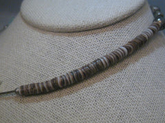 Vintage Brown Heishi Shell & Bird Carved Necklace, Sterling Silver Beads, MOP, 13.5""