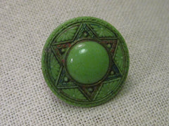 Vintage Brooch, Green Czech Glass Six Pointed Star & Daisy early 1900's brooch.