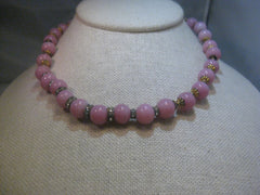 "Vintage Pink Peking Glass 9.5mm Beaded Necklace, Rhinestone Rondelles, 16"", Hook Clasp,"
