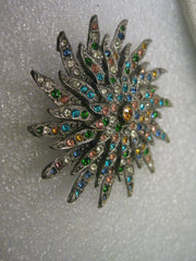 Vintage Art Deco Brooch, Floral Blossom, Cast Metal, Clear, Blue, Green, Gold Stones