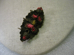 Vintage Victorian or Edwardian Brooch, Pendant Combination with mounted Dried Flowers, Leaf Shaped