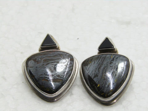 "Sterling Southwestern Tiger Iron Earrings, Onyx,  Pierced, 16.50gr., 1.25"", Triangular"