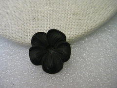 Victorian Floral Mourning Brooch, Vulcanite Curved Pansy or Violet Bloom, 3/4""