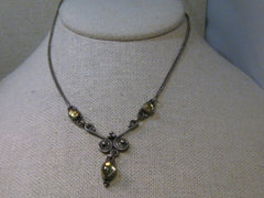 "Vintage Sterling Silver Boho/Bali Y Drop Necklace, Yellow Stones, 16"", Hand Made"