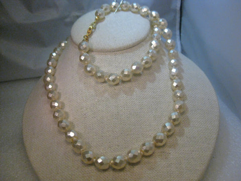 "Vintage Joan Rivers 30"" Faceted 11.5mm Faux Pearl Necklace, Iridescent"