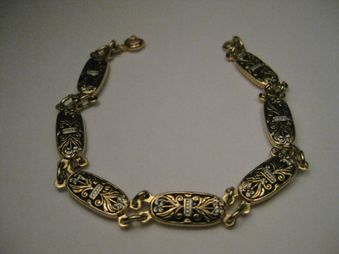 "Vintage Damascene Floral Themed Bracelet, 6.5"", 7 links"
