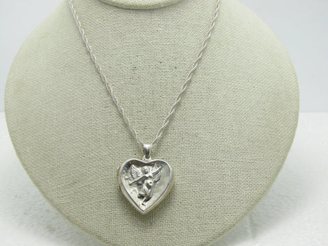 "Vintage Sterling Cupid Heart Locket Necklace, 24"", 13.90 grams, 1970's"