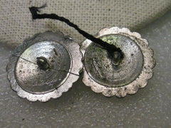 "Vintage Silver Tone Art Deco Rhinestone Buttons - Pair, nearly 1"", slightly domed, signed WMCA"
