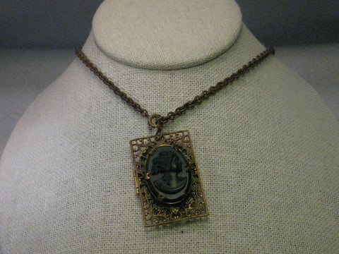Early 1900's  Mourning Necklace, Vulcanite Cameo Locket, Goldtone Filigree Frame, 20""