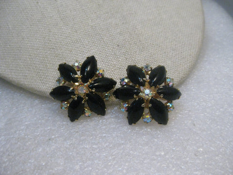 "Vintage Black Rhinestone Clip Earrings, Black/Clear, Gold Tone, 1.25"", 1960's"