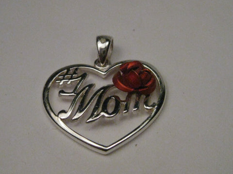 "Sterling Silver #1 Mom Heart Pendant with Red Rose Accent  on 20"" Sterling Box Chain/Necklace"