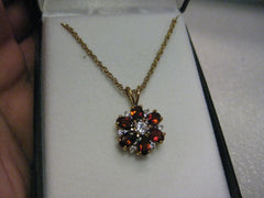 "Garnet Cluster Necklace, 14kt G.F., CZ Accent Stones, 18"" - New in Gift Box"