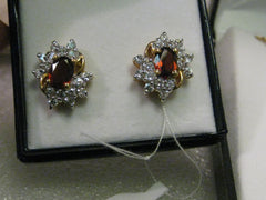 Genuine Garnet &  Cluster CZ Necklace & Pierced Earring Set, New in Box, 18, 14kt. G.F.
