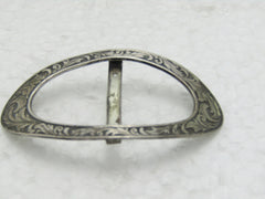 "Vintage Sterling Scrolled Leaf Buckle, P & B, 4.80 gr., Curved, 2-1/8"", Early 1900's"
