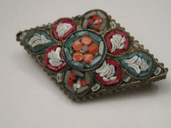Vintage Micro Mosaic Floral Pattern Silver Tone Brooch, Diamond Shaped