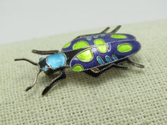 Vintage Sterling Enameled Beetle Scarab Brooch, 2.48 gr., Teal/Purple/Green, 1.25""