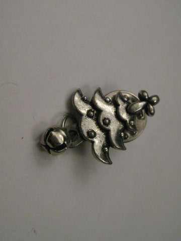 Vintage Silver Tone Christmas Tree Tack Pin with Dangling Jingle Bell, Signed BSD