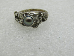 Vintage Sterling Silver Tahitian Pearl Ring, Size. 6.75, 3.26gr.