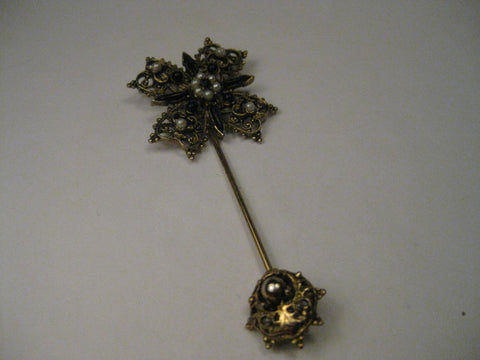 Vintage Victorian-Gothic Style Seed Pearl & Black Beaded Filigree Stick Pin with Accented Cap.