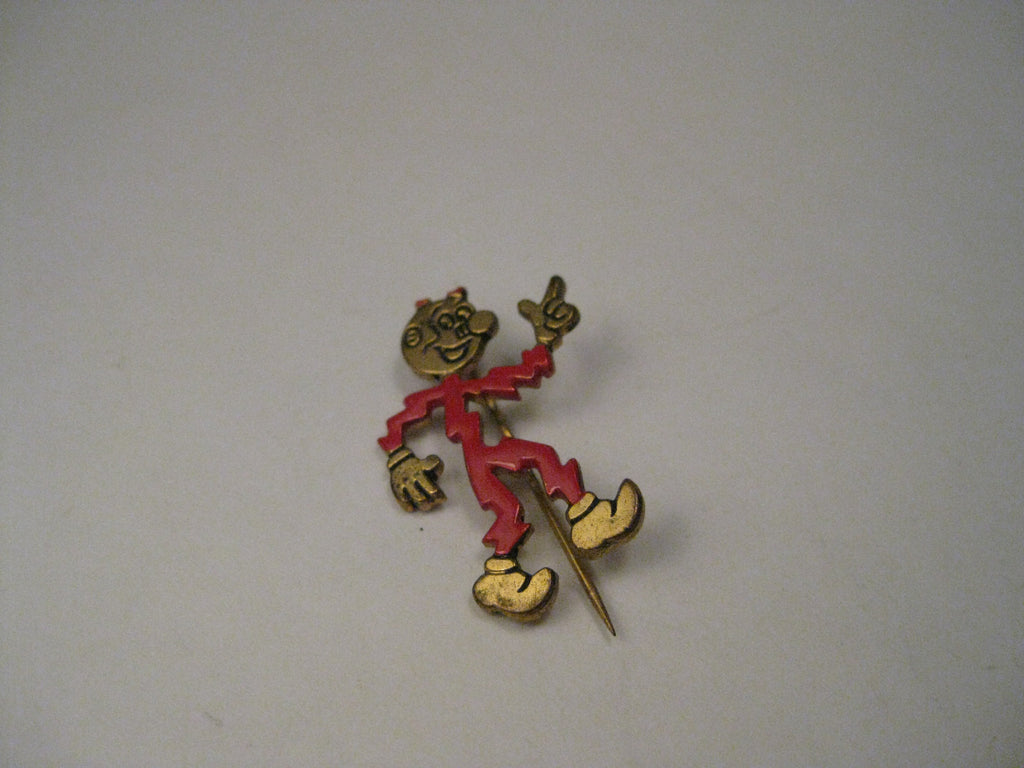 "Vintage Reddy Kilowatt Enameled Advertising Brooch, 1"", signed TM and US D-94261"