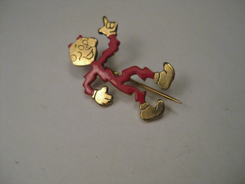 "Vintage Reddy Kilowatt Enameled Advertising Brooch, 1"", signed M.R. Reddy Kilowatt"