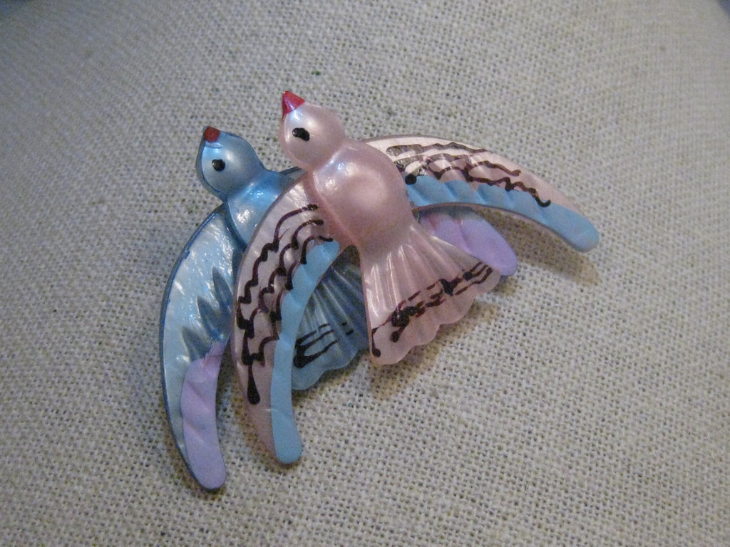 Vintage Pearly Lucite Double Bird Brooch, 1940's, Pink, Blue, Hand Painted, 2.75""