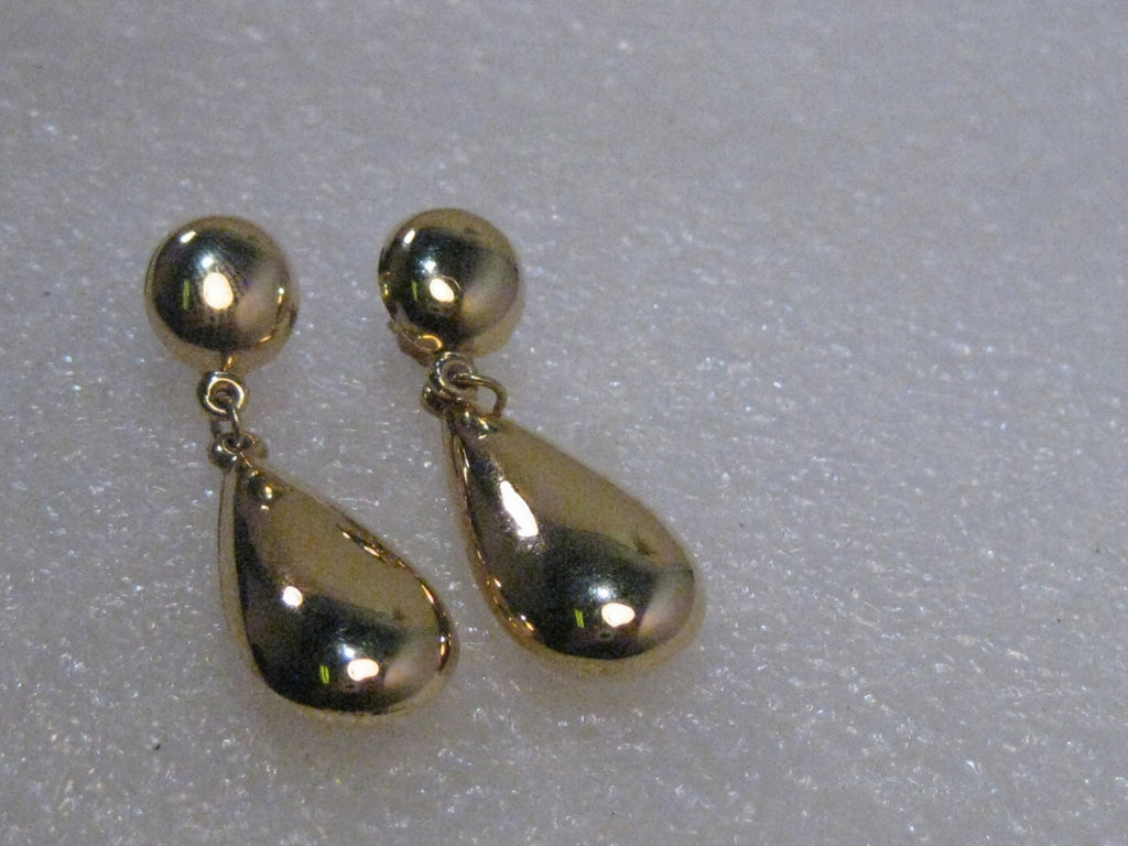 "14kt Gold Stud and Teardrop Dangle Pierced Earrings, signed JAW, 1.25"", 2.98 grams"