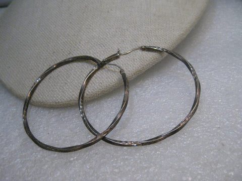 "Vintage Sterling Twisted Hoop Earrings, Pierced, 2-1/8"", 4.71 gr., 2mm"